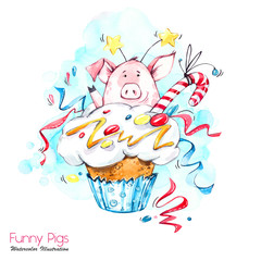 Greeting holidays illustration. Watercolor cartoon pig in cupcake with cream and confetti. Funny dessert. Birthday symbol. Food. Perfect for T-shirts, invitations, cards, phone cases.
