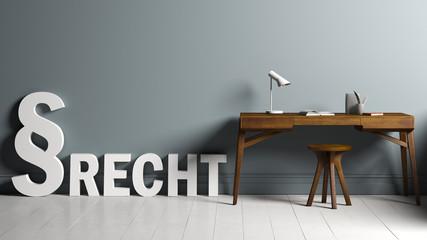 """Paragrafen-Symbol und das Wort """"Recht"""" neben Arbeitsplatz"""