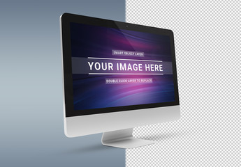 Isolated Side View Desktop Computer Mockup