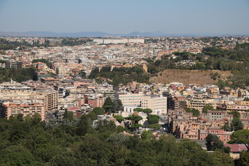 View from St. Peter's Basilica on Rome Italy