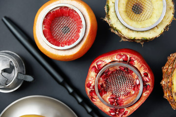 Fruit Shisha Hookah Bowls On Black Background