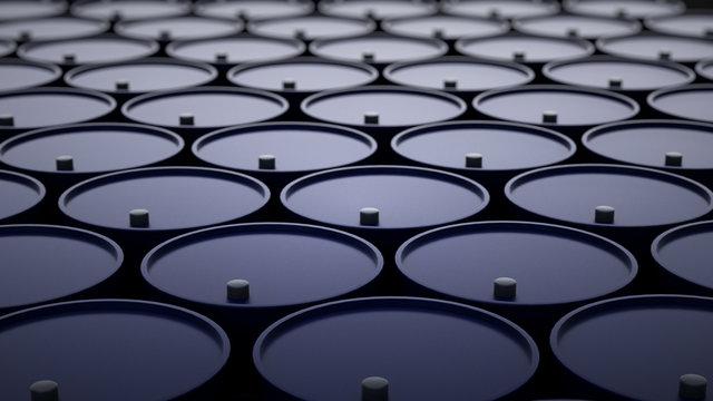 3d illustration of barrels with crude oil