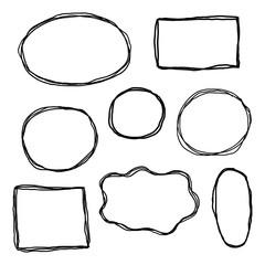 Set of hand drawn sketched frames.