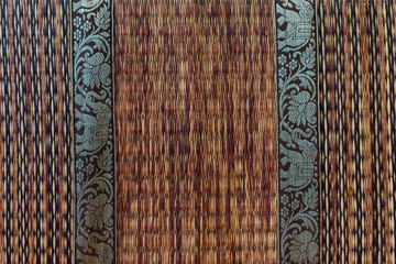 rattan weave mat with elephant pattern