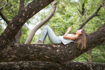 Woman play smartphone on big tree