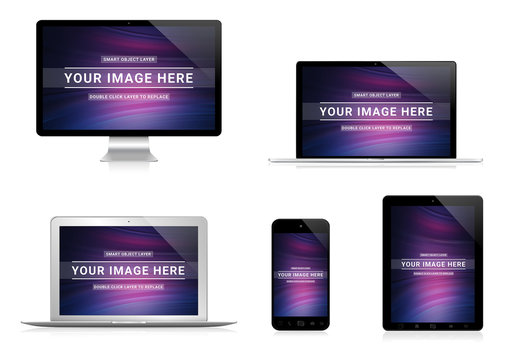 5 Devices Mockup Isolated on White
