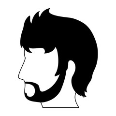 Male head silhouette vector illustration graphic design