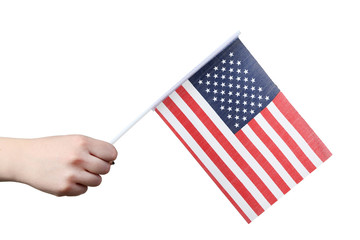 Female hand holding american flag on white background
