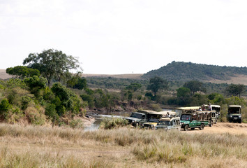 Tourists enjyoing game drive in Masai Mara National Reserve
