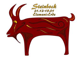 Sternzeichen Steinbock, mit deutschem Text: Steinbock, Datum, Element Erde, Vektorgrafik eps10