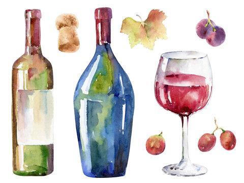 Hand-drawn wine set. Watercolor illustration
