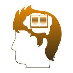 Book inside head silhouette vector illustration graphic design