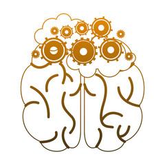 Brain and gears symbol vector illustration graphic design