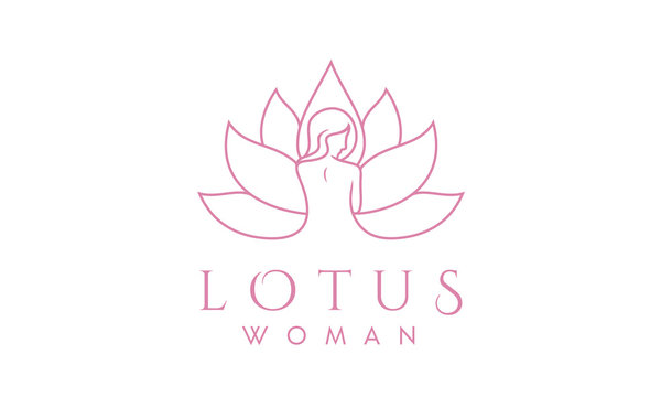 Luxury Woman and Lotus Line Art for Spa logo design inspiration