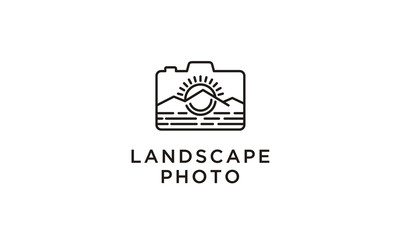 Line art Mountain, Sea, Sun, and camera for traveling/adventure photographer logo design inspiration