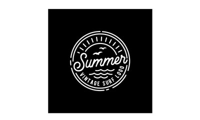 Retro Hipster Stamp for Beach Surf Logo design