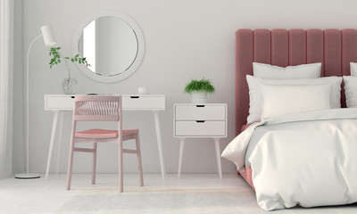 Bedroom interior with a pink bed