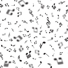 Seamless pattern with falling music notes. Vector.