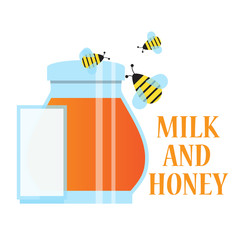 bees fly over honey and milk,vector image, flat design