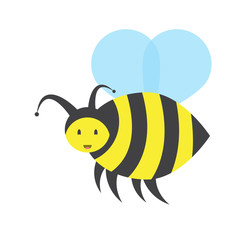fun flying bee,vector image, flat design
