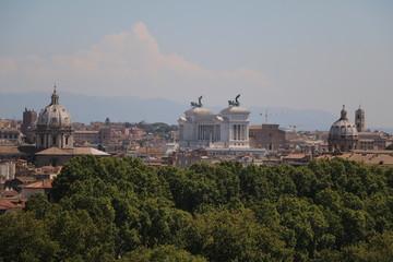 View from Terrazza del Gianicolo to the historic center of Rome, Italy