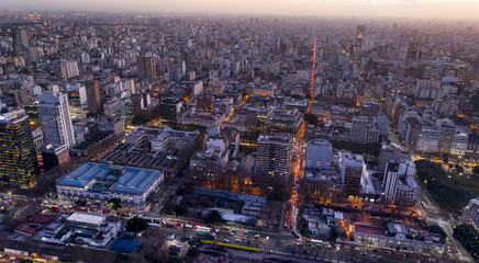 Aerial View of the city.  Lights of the city at sunset. Buenos Aires Drone Scene. City Landscape