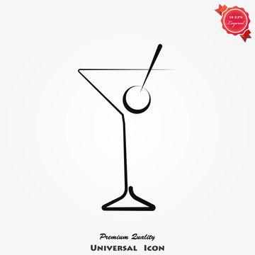 Cocktail icon on background, vector illustration
