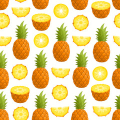 Vector pattern with cartoon pineapple isolated on white.