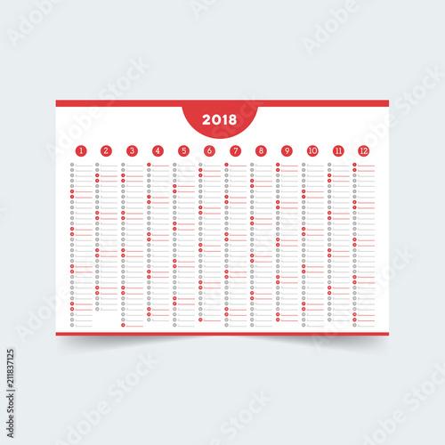 Creative Calendar Wall Calendar Template For 2018 Year Stock