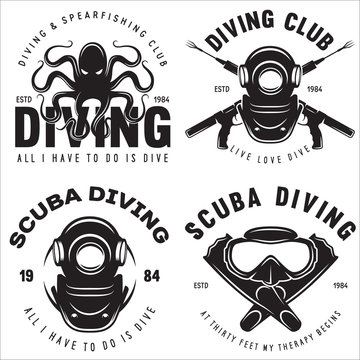 Set of Scuba diving club and diving school badges with design elements. Vector illustration. Concept for shirt or logo, print, stamp or tee. Vintage typography design.