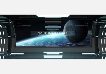Futuristic Spaceship Interior Window Mockup