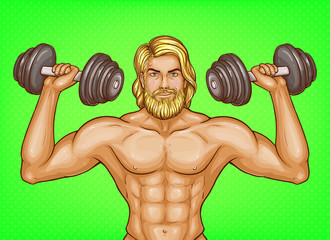 Vector pop art strong man with naked chest and great muscles holds dumbbells in hands, shows his biceps. Adult blonde bodybuilder, athlete with sexy body, fitness trainer with nude torso and beard