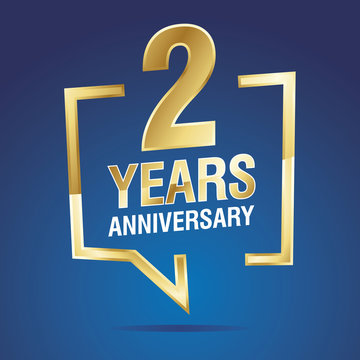 2 Years Anniversary gold white blue logo icon