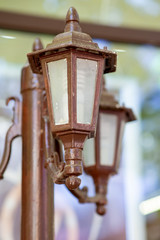 close shot of old brown street lamp