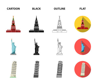 Sights of different countries cartoon,black,outline,flat icons in set collection for design. Famous building vector symbol stock web illustration.