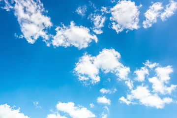 Blue sky with fluffy clouds as a background
