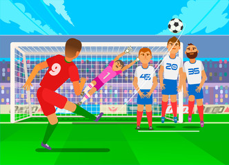 Free kick in football. National teams in the championship. Vector flat illustration