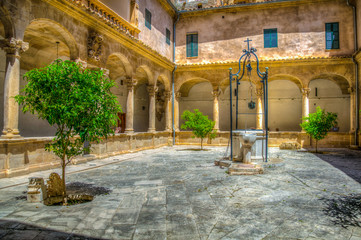 A small courtyard inside on the cathedral of Palma de Mallorca, Spain