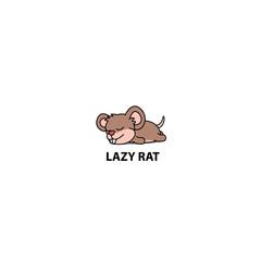 Lazy rat sleeping cartoon icon, vector illustration