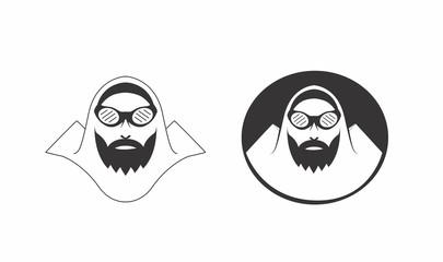 Alpinist face badge logo design