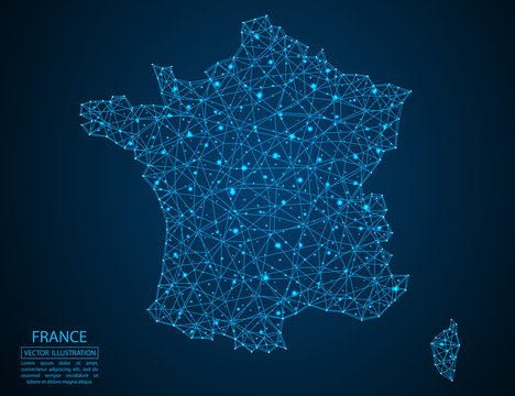 A map of France consisting of 3D triangles, lines, points, and connections. Vector illustration of the EPS 10.