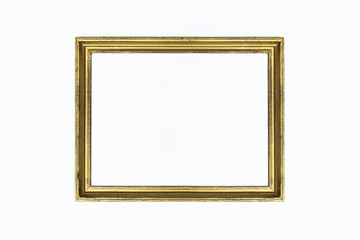 Gold rectangular frame for painting or picture on white background. Isolated. Add your text.