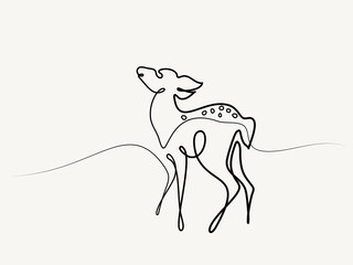 Continuous line drawing. Funny Roe Deer Fawn cub baby. Vector illustration. Concept for logo, card, banner, poster flyer