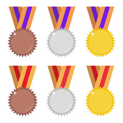 Flat medals set. Gold, silver and bronze medals. Two color variation sets. Isolated on white