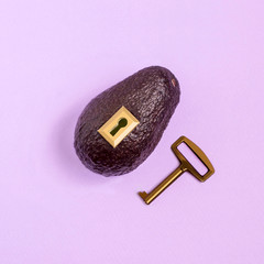 Creative idea: avocado with lock and key