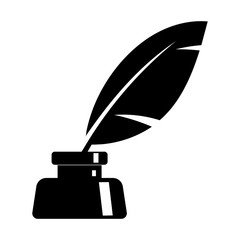Simple, flat ink and quill icon. Black silhouette icon. Isolated on white