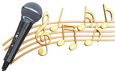 Musical concept. Microphone with music notes, 3d rendering