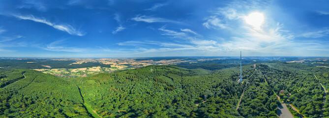 360° VR Luftbildpanorama über dem Donnersberg Richtung Rheinhessen