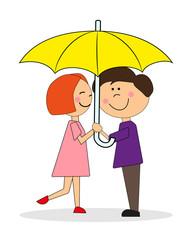 Мальчик и девочка под зонтом. Вектор