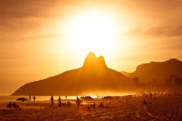 Staande foto Rio de Janeiro Warm Sunset on Ipanema Beach, Rio de Janeiro, Brazil